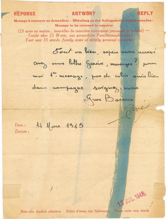 Message  Formule  « CROIX-ROUGE  FRANÇAISE »  avec mention imprimée «Taxe Perçue»  pour un ouvrier français en Allemagne Ccf03013