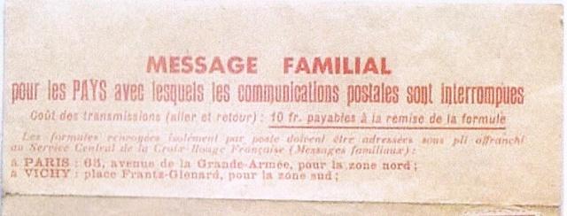 Message  Formule  « CROIX-ROUGE  FRANÇAISE »  avec mention imprimée «Taxe Perçue»  pour un ouvrier français en Allemagne Ccf06010