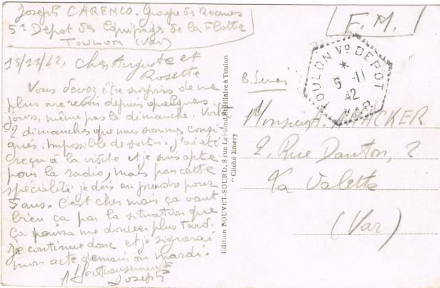 L'Agence Postale Navale à terre  «  TOULON V°  DEPOT VAR » Ccf06013