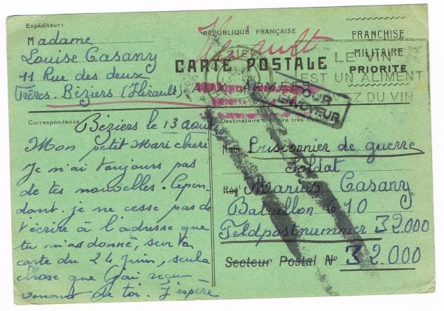 CARTE POSTALE FRANCHISE MILITAIRE PRIORITE pour un prisonnier envoyé  au Feldpostnummer 32000   Ccf21010