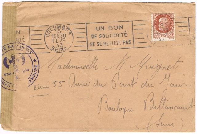 Cachet de censure avec Francisque  «  SURETE NATIONALE  * BUREAU DE LA CENSURE *  ETAT FRANÇAIS » Ccf29010