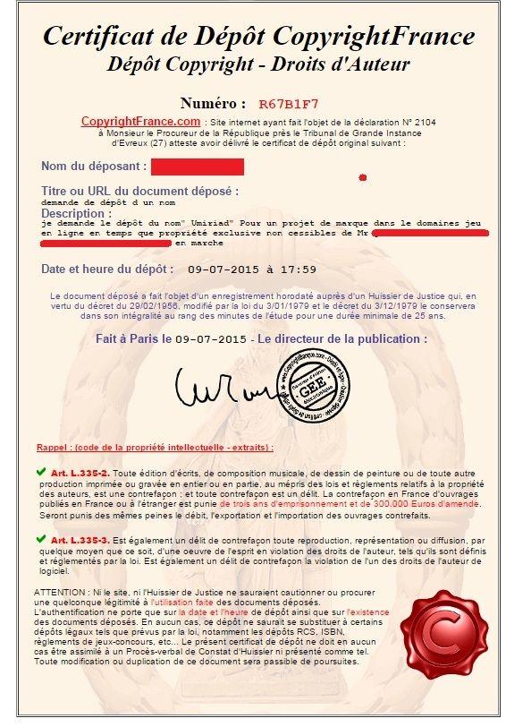 Umiriad - Mise en demeure pour violations de droits d'auteur Certif10