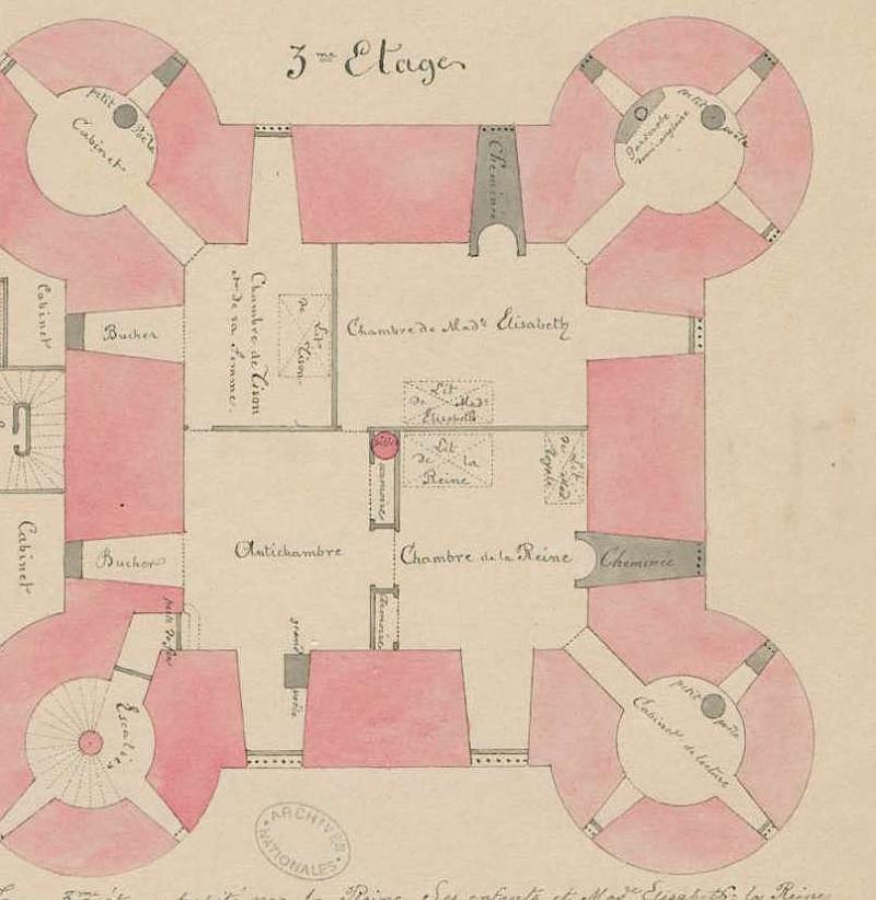 Plans et aménagements du donjon du Temple : la grande tour, la petite tour Fran_011