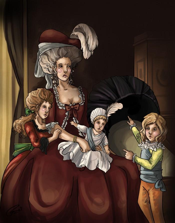 Déclinaisons faites d'après le portrait de Marie Antoinette et ses enfants de Vigée Lebrun Reign_10