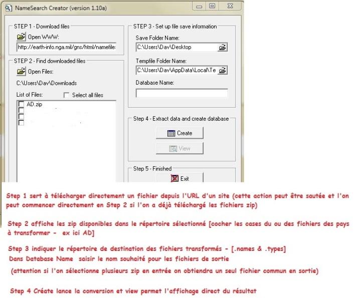 Names Search  création des fichiers ou téléchargement Namsea10