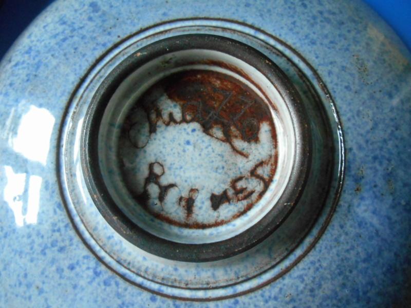 Mottled Blue Plate - Jma or M Brimes? mark - any ideas on maker please Dscn9912