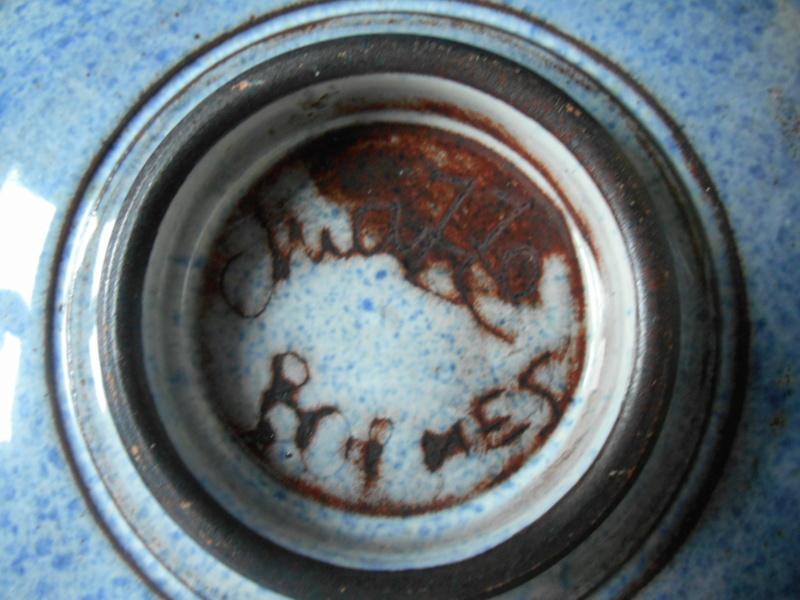 Mottled Blue Plate - Jma or M Brimes? mark - any ideas on maker please Dscn9913