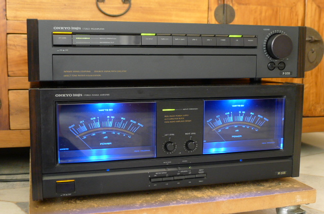 Onkyo Integra Pre Amplifier P-308 and Integra Power Amplifier M-508 (Used) SOLD P1100722
