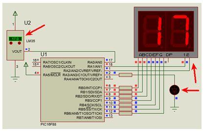شرح مشروع متحكم فى درجة الحرارة الموجبة يصلح نواة للتحكم فى المشاريع الكبرى مثل المكيفات والأفران والسخانات وغيرها باستخدم الحساس LM35 والميكروكونترولر PIC16F88 مع المترجم CCS C  : 112
