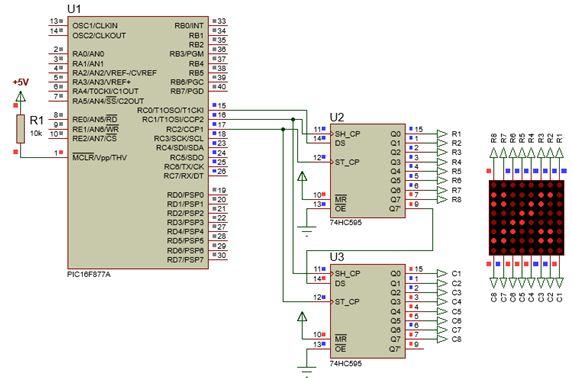 الليد ماتريكس LED MATRIX  علميا وعمليا والبرمجة بلغة السى والمترجم MIKROC والمترجم CCS C : 130