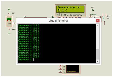 مشروع متحكم فى درجة حرارة (بيان وتحكم) مع استخدام موديول  ADC والحساس LM35 و LCD و RS232 مع المترجم CCS C  211