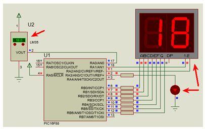 شرح مشروع متحكم فى درجة الحرارة الموجبة يصلح نواة للتحكم فى المشاريع الكبرى مثل المكيفات والأفران والسخانات وغيرها باستخدم الحساس LM35 والميكروكونترولر PIC16F88 مع المترجم CCS C  : 212