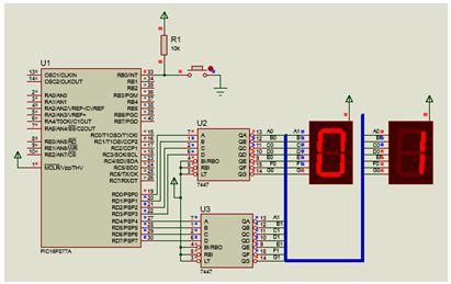 مشروع عداد تصاعدى 0-99 يستخدم CCS-C-Counter-PIC-EEPROM-Interrupt-7 Segment-7447- 217