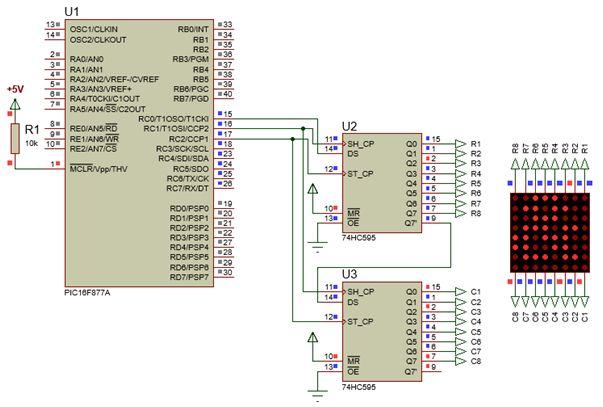 الليد ماتريكس LED MATRIX  علميا وعمليا والبرمجة بلغة السى والمترجم MIKROC والمترجم CCS C : 230