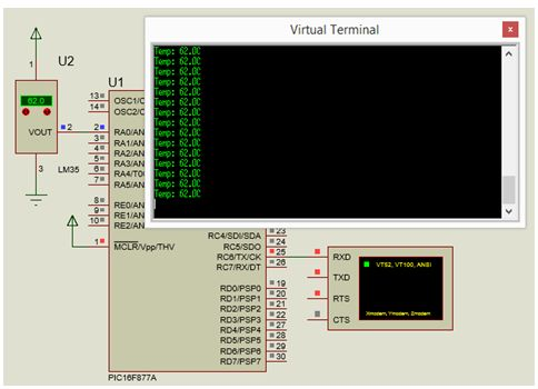 مشروع متحكم فى درجة حرارة (بيان وتحكم) مع استخدام موديول  ADC والحساس LM35 و LCD و RS232 مع المترجم CCS C  310