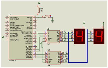مشروع عداد تصاعدى 0-99 يستخدم CCS-C-Counter-PIC-EEPROM-Interrupt-7 Segment-7447- 314