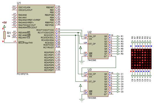 الليد ماتريكس LED MATRIX  علميا وعمليا والبرمجة بلغة السى والمترجم MIKROC والمترجم CCS C : 422