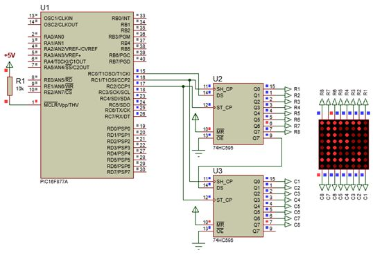 الليد ماتريكس LED MATRIX  علميا وعمليا والبرمجة بلغة السى والمترجم MIKROC والمترجم CCS C : 619