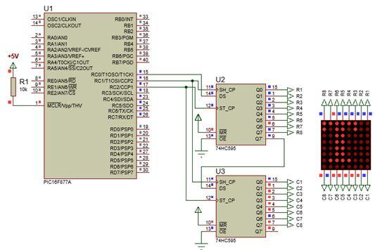 الليد ماتريكس LED MATRIX  علميا وعمليا والبرمجة بلغة السى والمترجم MIKROC والمترجم CCS C : 716