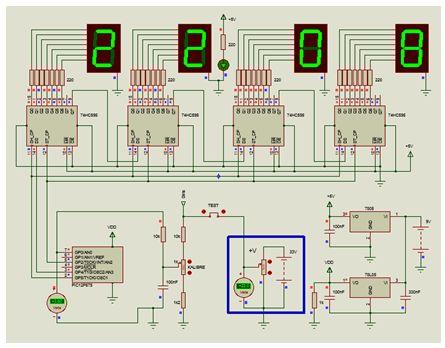 جهاز قياس الجهد باستخدام الميكروكونترولر PIC12F675 ومسجل الإزاحة 74595 والعرض على 4 وحدات سفن سيجمنت مع المترجم CCS C  : Ccs-pi10