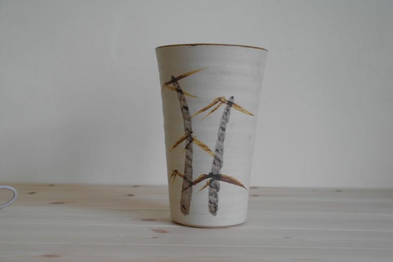 Vase or Planter with Bamboo Design Signed ML Sam_0810
