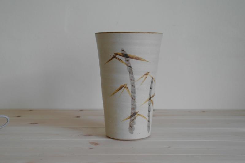 Vase or Planter with Bamboo Design Signed ML Sam_0811