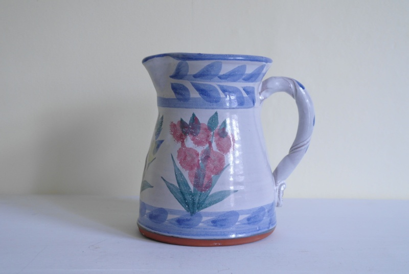 Floral Pottery Jug with Impressed Floral Makers Stamp Sam_8010