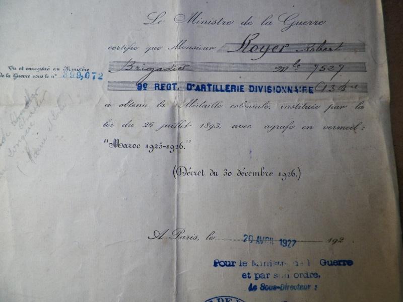 "Diplome Médaille coloniale ""Maroc 1925-1926"" 100_1113"