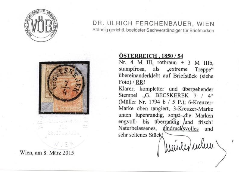 Die erste Österreichische Ausgabe 1850 - Seite 6 Attest10