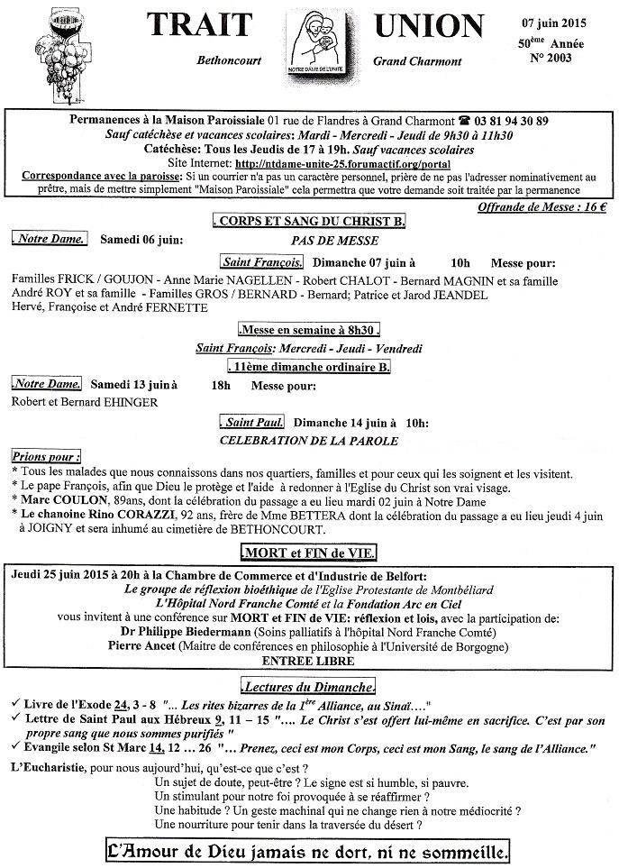Trait d'union du 7 juin 2015 Tu150610