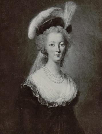 Marie-Antoinette en robe rouge sans ses enfants Zmarie11