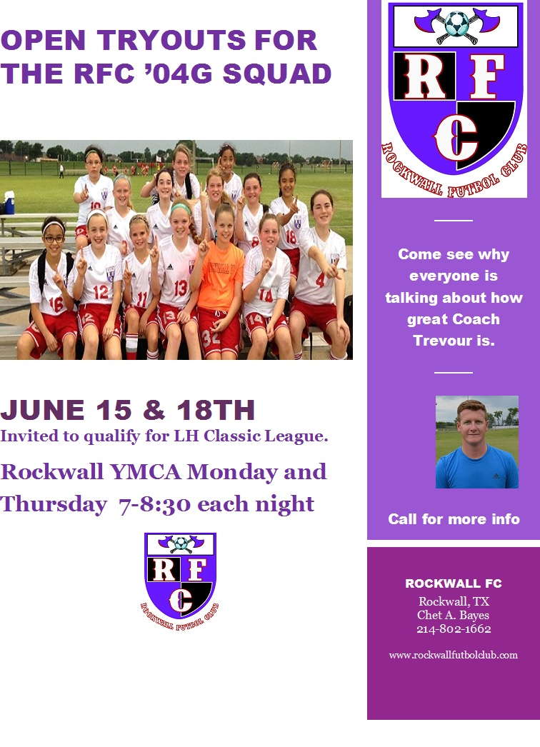 Rockwall FC '04G to hold OPEN PRACTICES Add110