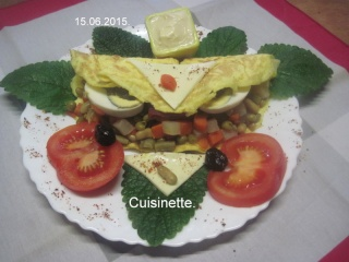Omelettes composées de légumes.œufs.râpé.photos. Img_7540