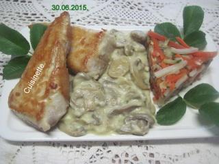 Emincés de dinde à la sauce blanche et champignons.photos. Img_7910