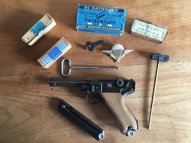 Luger P08 français, accessoires et ses munitions 02410