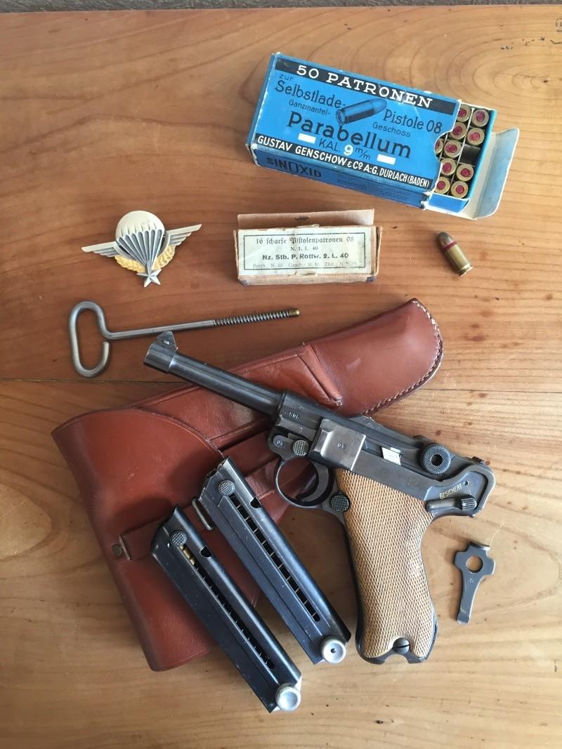 Luger P08 français, accessoires et ses munitions 02610