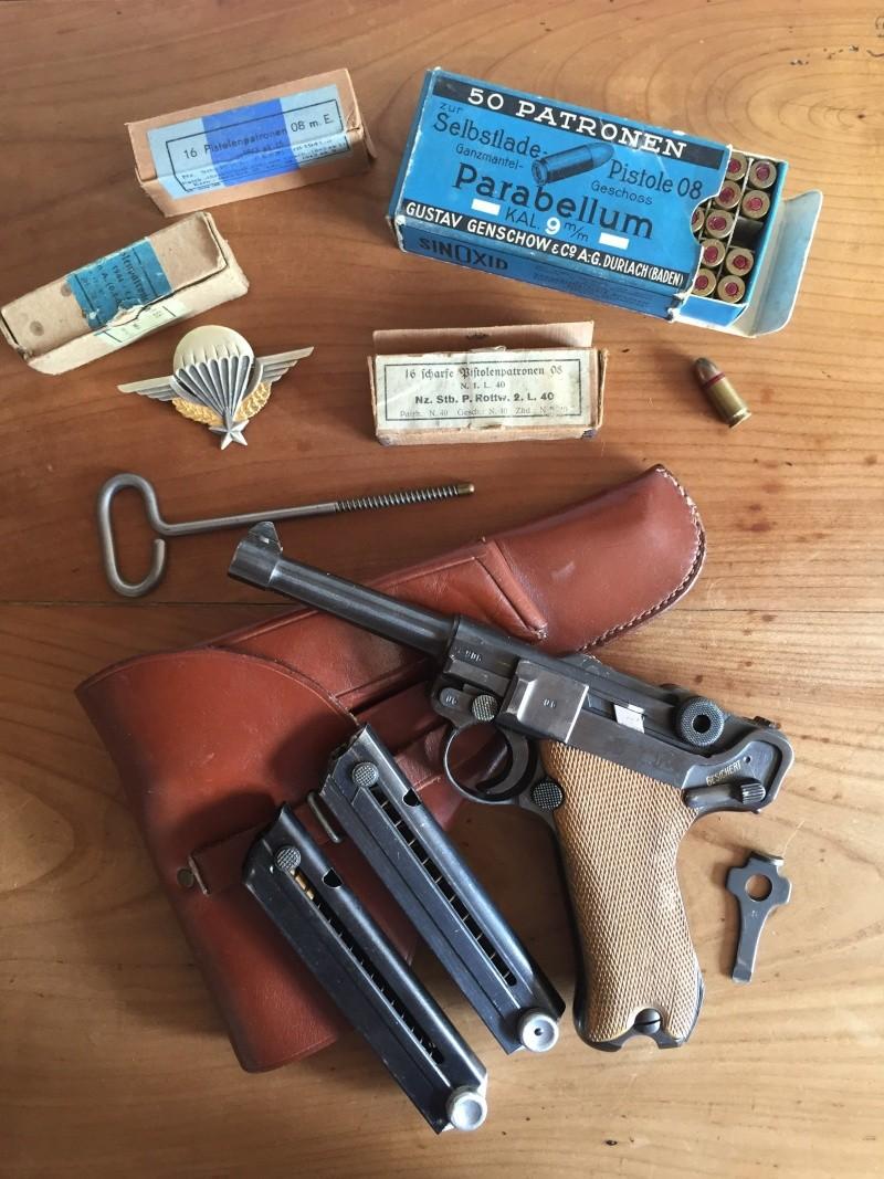 Luger P08 français, accessoires et ses munitions 02711