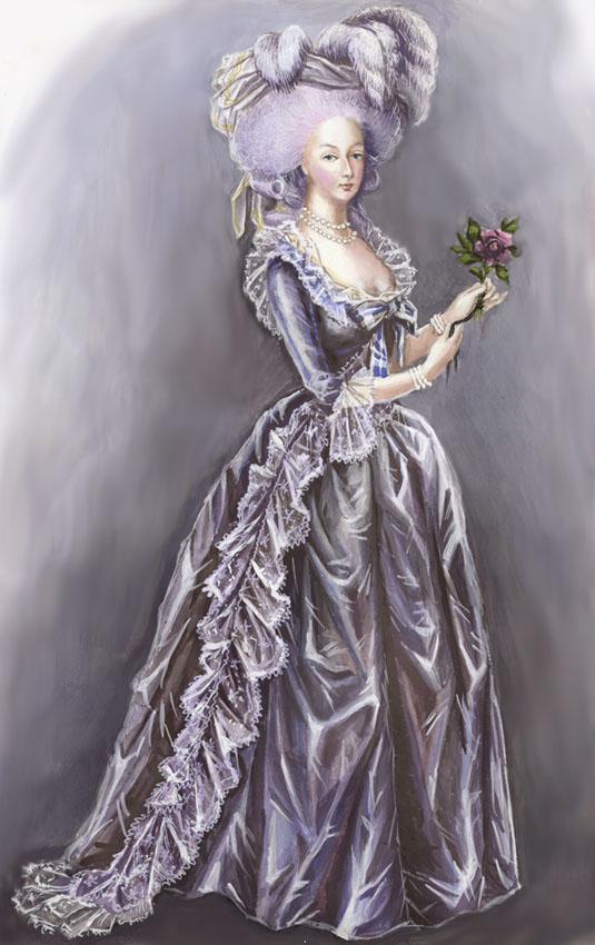 Déclinaisons sur le portraits à la rose en robe bleue, d'après Elisabeth Vigée Lebrun Marie_10