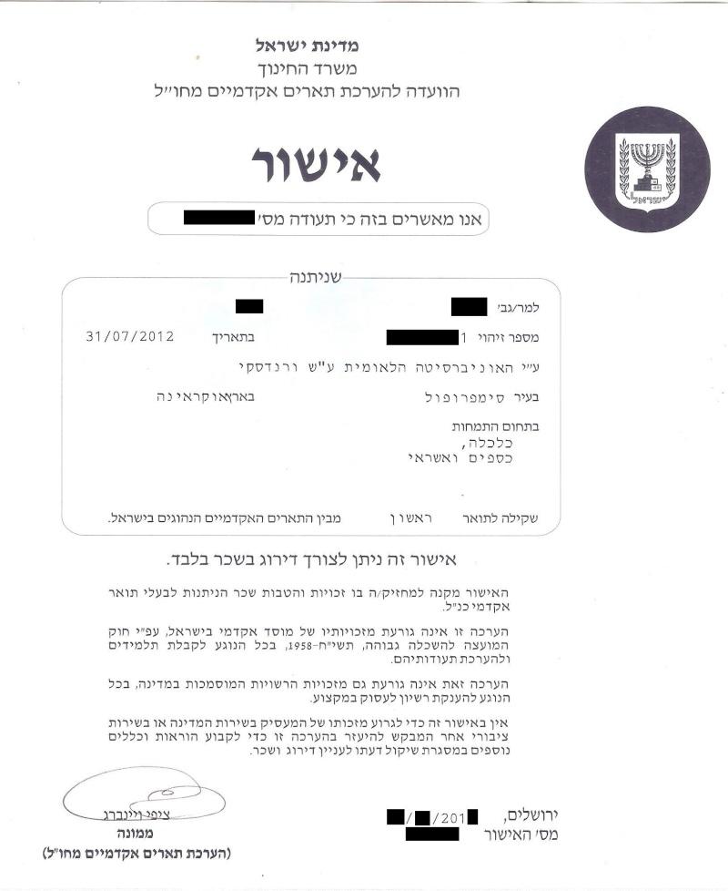 Документы выданные в Израиле Aieeez10