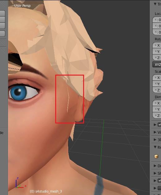 [Intermédiaire] [Blender 2.6 et 2.7] Conversion de coiffure Sims 4 d'un sexe à l'autre : la modification de mesh. Blende16