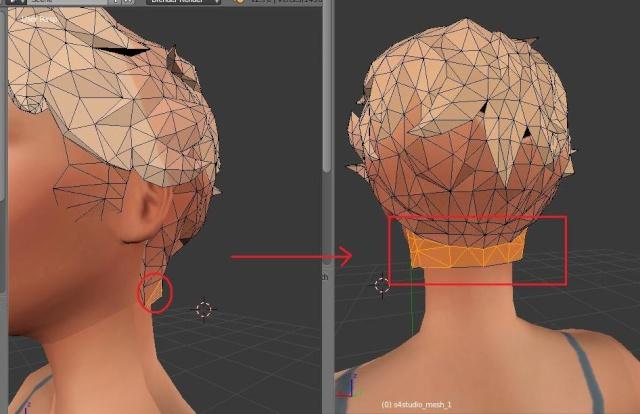 [Intermédiaire] [Blender 2.6 et 2.7] Conversion de coiffure Sims 4 d'un sexe à l'autre : la modification de mesh. Blende19