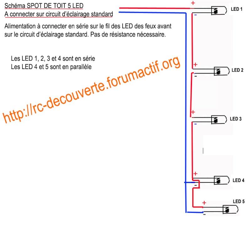Fabriquer éclairage Led pour Scx10 et Scale Trial : feux avant, feux arrière, spot de toit, clignotants, gyrophares et feux de recul Pas Cher Schema11