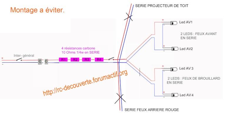 Fabriquer éclairage Led pour Scx10 et Scale Trial : feux avant, feux arrière, spot de toit, clignotants, gyrophares et feux de recul Pas Cher Schema12