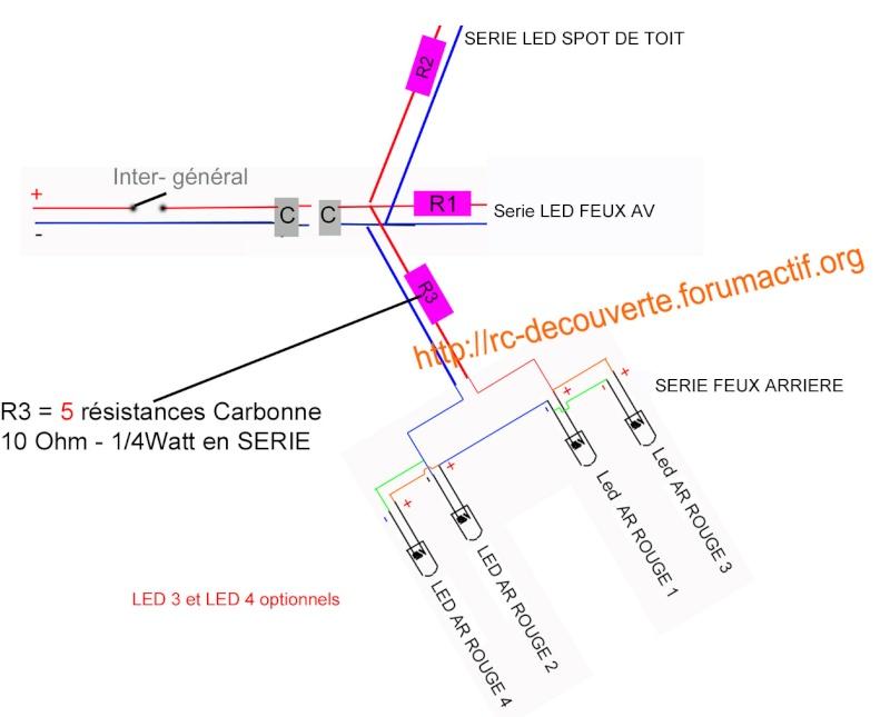 Fabriquer éclairage Led pour Scx10 et Scale Trial : feux avant, feux arrière, spot de toit, clignotants, gyrophares et feux de recul Pas Cher Schema13