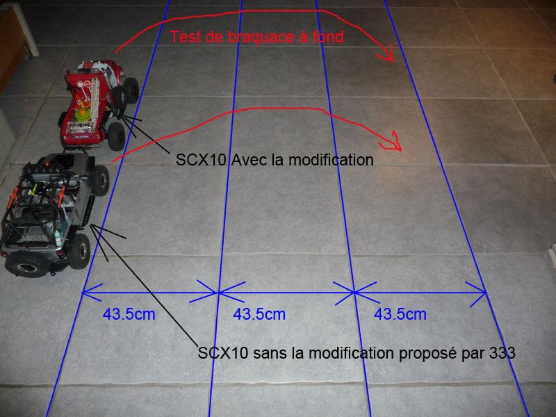 Optimiser et améliorer l'angle de braquage ou direction de SCX10 d'origine Test-m10