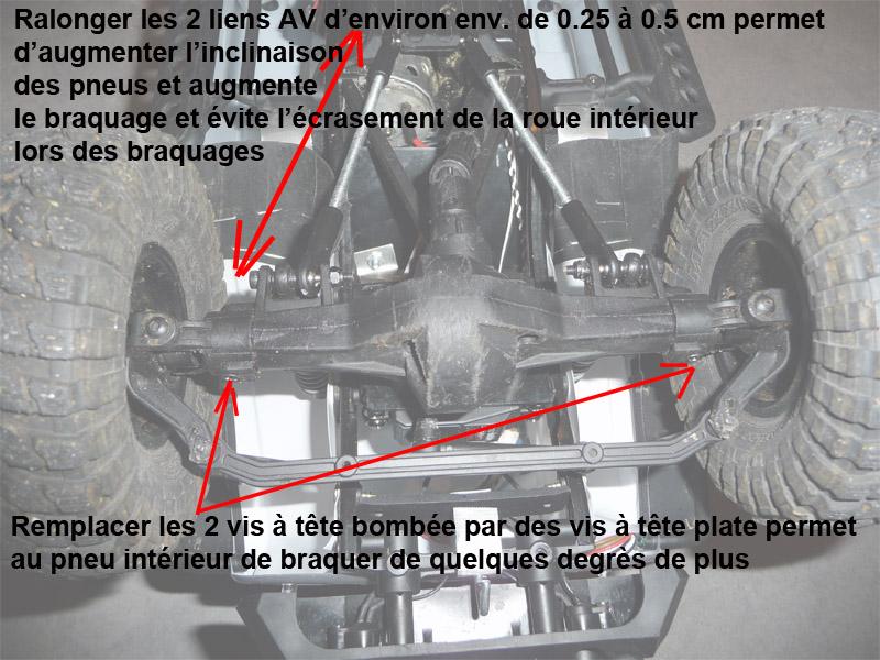Optimiser et améliorer l'angle de braquage ou direction de SCX10 d'origine Test-m12