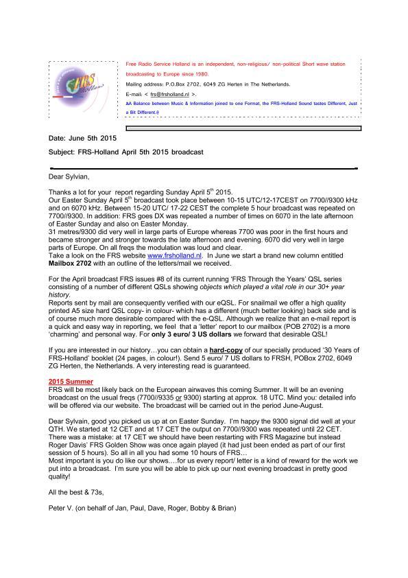 eQSL de FRS Holland Frs_le10