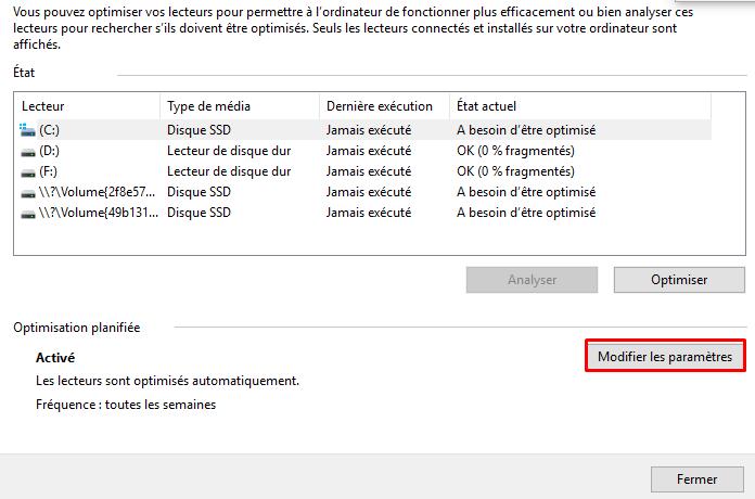 Désactiver la défragmentation sous Windows 10 Dysact13
