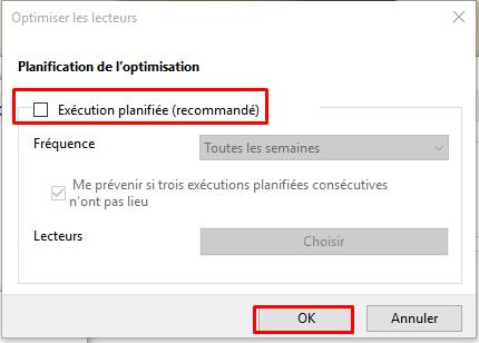 Désactiver la défragmentation sous Windows 10 Dysact14