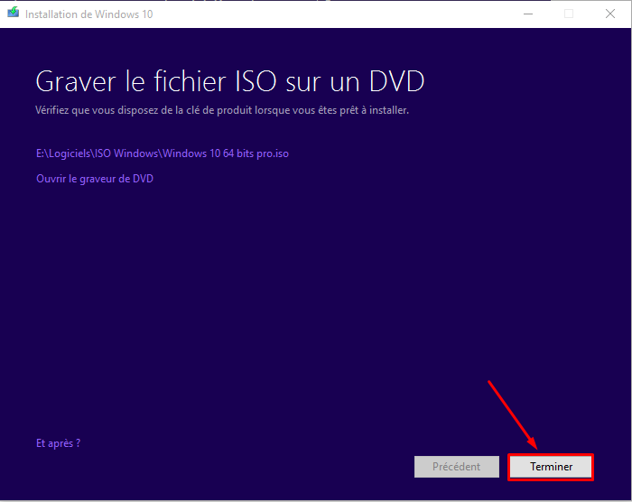 Comment créer un ISO de Windows 10 Termin10